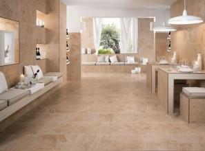 Stone-look plank tiles