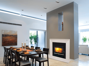Freestanding and built-in wood-burning heaters