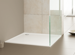 Low-profile, enamelled-steel shower surfaces