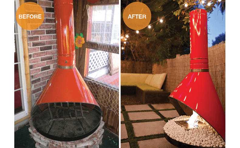 A 1960s vintage conical fireplace conversion EcoSmart