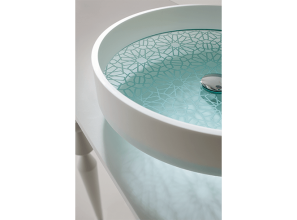 Hand-etched artistic glass basins for the bathroom