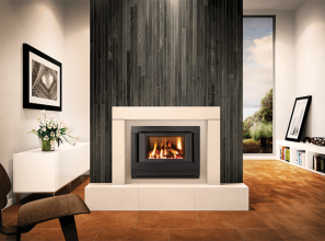 Built-in gas log heater to replace older fireplaces