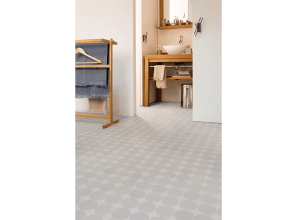 Vinyl flooring suitable for bathrooms and kitchens