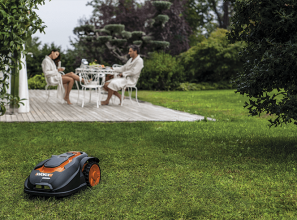 A battery-operated robotic lawnmower