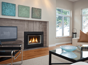 Transform a blank wall into a modern gas log fireplace