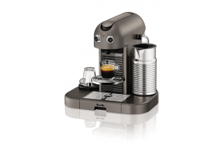 A coffee maker with integrated milk frother
