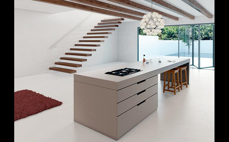 A Concrete Looking Kitchen Benchtop Caesarstone