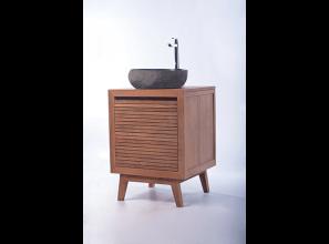 Teak vanities and terrazzo basins for bathroom renovations