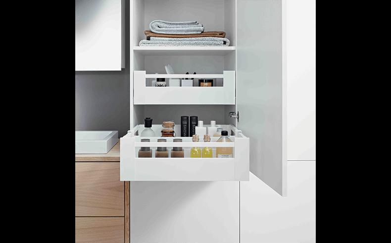 Bathroom drawer devices that increase storage blum for Bathroom 94 percent