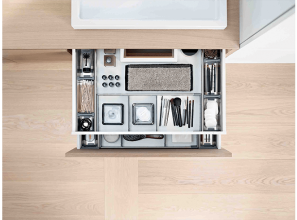 Bathroom-drawer devices that increase storage