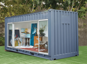 Renovated shipping container as an outdoors room