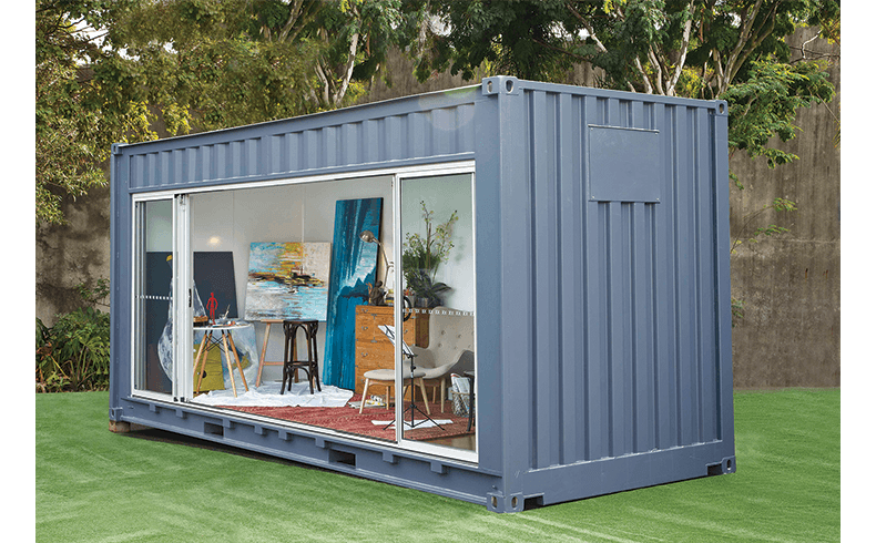 Renovated Shipping Container Outdoors Room on small portable homes