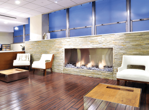 Building a fireplace inside an apartment or office-space