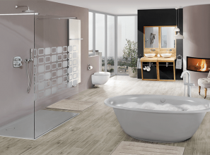 Modern bathroom-renovation with free-standing Kaldewei baths