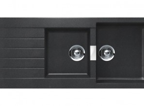 German-made kitchen sinks in black and grey Nanogranite