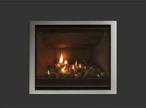 A modern gas fireplace that can be retro-fitted into existing cavities in older homes
