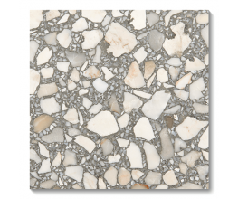 Terrazzo floor tile referencing surfaces from ancient Rome