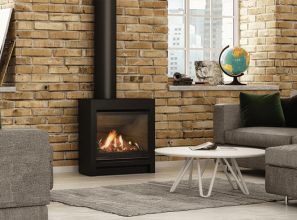 A gas fireplace specifically designed to replace older free-standing wood burners