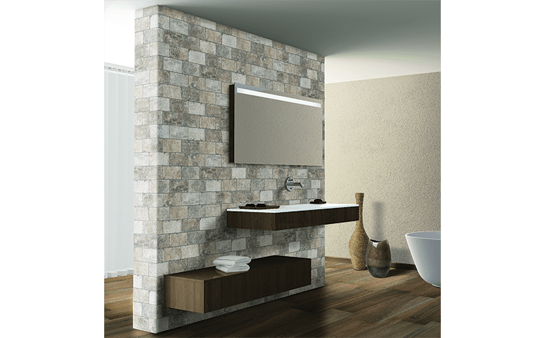 Italian made tiles with the on trend glazed brick look