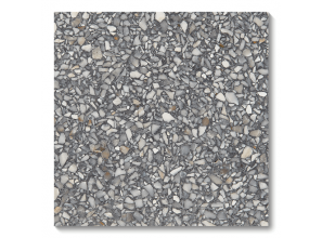 Concrete-look stone terrazzo tiles in steel and pewter tones