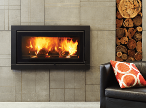 Slow combustion contemporary fireplace