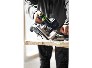 Cordless 18-volt circular saw system with trimming rail