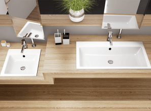 Enamelled steel washbasins for toilets in hotels, restaurants and public buildings