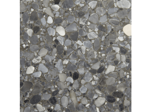 Terrazzo floor tile with silver-grey tones