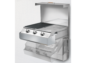 Compact, relocatable barbeque for installing in outdoors kitchens