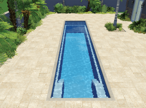 Narrow lap-pool designed to fit smaller backyards