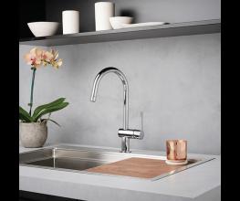 Three modern-styled kitchen sink-mixers from Dorf