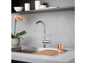 Three modern-styled kitchen sink-mixers from Dorf