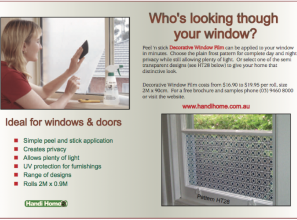 Decorative privacy window film that can be DIY-applied in minutes