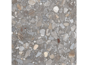 Terrazzo floor tile with an appealing glow of silver/grey aggregate blend