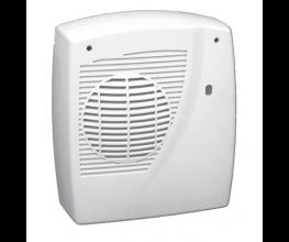 Wall-hung downward-flow fan heater for bathrooms