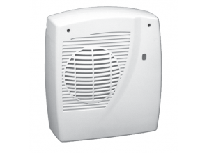 Wall-hung downward-flow fan heater for bathrooms