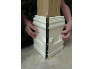 Clip-on post covers in various styles and sizes to protect the bottoms of verandah posts