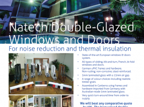 Double-glazed windows and doors for noise and thermal insulation