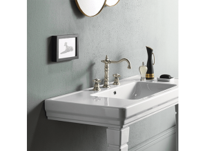 Bathroom renovated with matte black tapware and metallic accessories