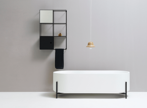 A reinterpretation of the classic freestanding bath with lion-shaped feet