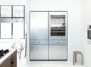 Combination 445-litre fridge, freezer and wine chiller