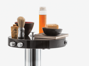 Artistic collection of tapware and bathroom accessories from Italian design house