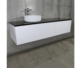 Wall-hung bathroom vanities in several sizes and configurations
