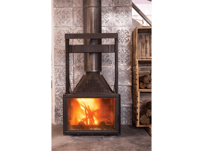 Vienna cast iron wood-heater with glass doors and black finish