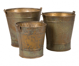Log buckets, log baskets and coal scuttles in copper, zinc and rustic iron