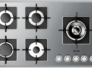 Stainless steel cooktops with wok burner