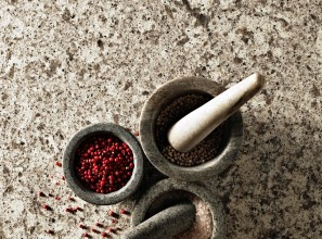 Terrazzo-style quartz surfaces for kitchen benchtops and bathroom vanity tops