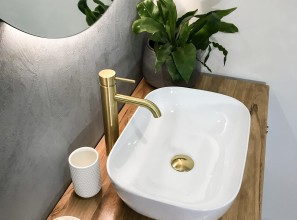 Brushed brass bathroom mixer