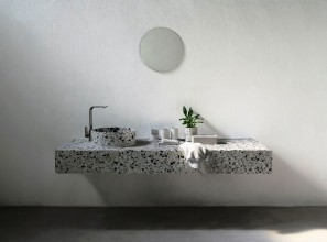 Basins made from recycled concrete and ceramic tile materials