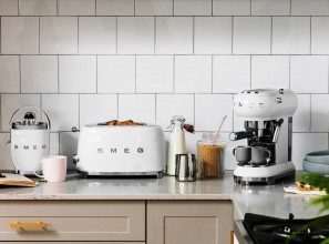 All-white kitchen benchtop appliances from Smeg